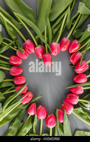 pink Fresh Spring Tulips Botanical Art Floral Background. heart Frame Wreath Flowers Concept Woman's day Greeting - Stock Photo