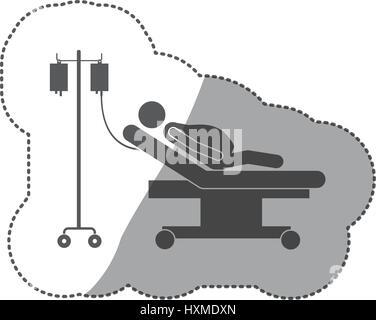 sticker monochrome pictogram pregnant woman hospitalized - Stock Photo
