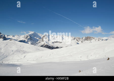 The ski resort of Domaine de Balme in Le Tour outside of Chamonix-Mont-Blanc. - Stock Photo