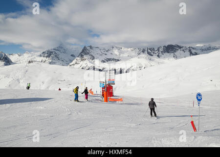 Skiers at Domaine de Balme ski resort in Le Tour outside of Chamonix-Mont-Blanc. - Stock Photo
