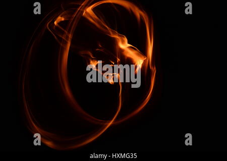 Light trace of 2 rings of fire. - Stock Photo