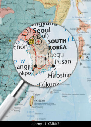 Map of south korea with flag stock photo 110115288 alamy south korea highlighted stock photo gumiabroncs Images