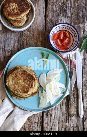 vegan zucchini chickpeas flour pancakes - Stock Photo