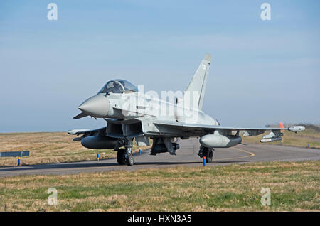 UK's RAF Eurofighter Typhoon FRG4 jets on 'Joint Warrior exercise 2017 at RAF Lossioeouth, Morayshire. Scotland. - Stock Photo