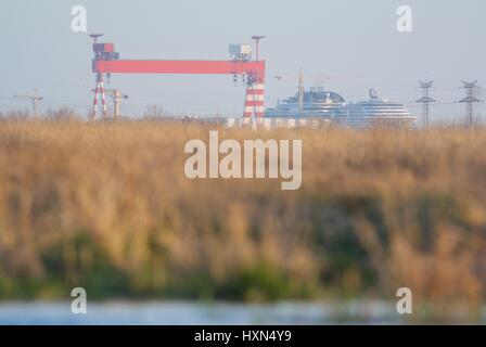 Port of Saint Nazaire seen from the marshes of La Grande Briere Natural Park - Stock Photo