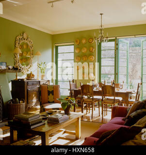Open plan living and dining room. - Stock Photo