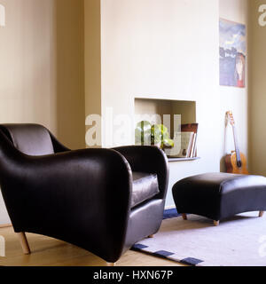 Modern leather armchair living room. - Stock Photo