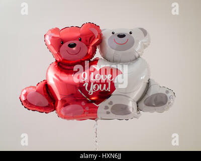 A Valentine's Day bear balloon that says 'I Love You' :) - Stock Photo