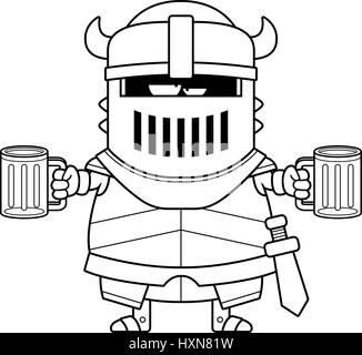 A cartoon illustration of the black knight looking drunk. - Stock Photo