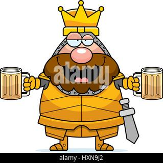 A cartoon illustration of a king in armor looking drunk. - Stock Photo