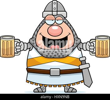 A cartoon illustration of a knight looking drunk. - Stock Photo