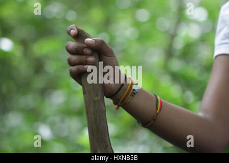 Hands holding a hiking stick - Stock Photo