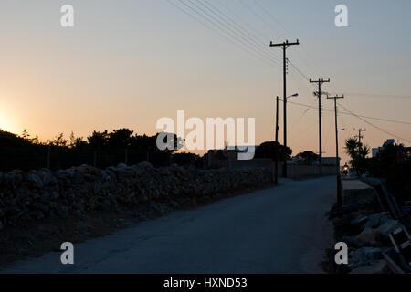 Sonnenuntergang auf der Insel Iraklia, kleine Kykladen, Griechenland - Stock Photo