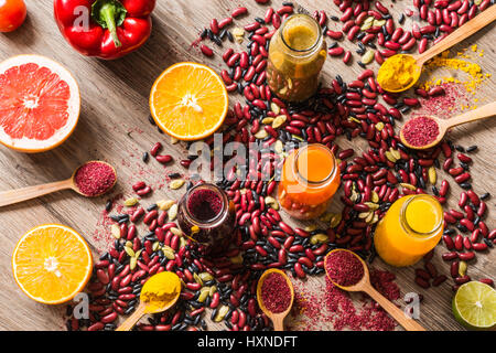 Detox diet. Different colorful fresh juices. top view - Stock Photo