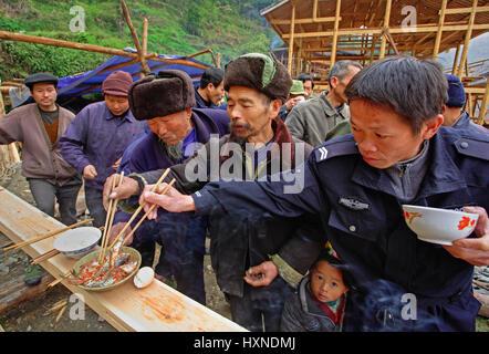 GUIZHOU PROVINCE, CHINA - APRIL 16: Langde Miao ethnic minority village, Leishan County, Guizhou, China, April 16, - Stock Photo