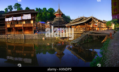 Zhaoxing Dong Village in Southeast Guizhou Miao and Dong Nationalities Autonomous Prefecture of southwest China - Stock Photo