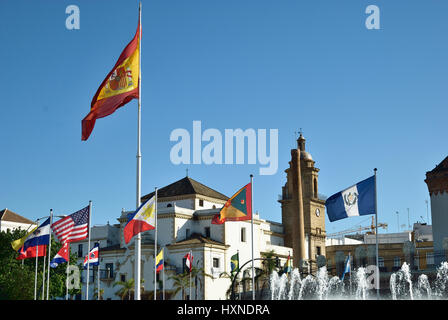 Flags of the American countries in the Plaza de Sevilla. Cadiz, Andalusia, Spain, Europe - Stock Photo