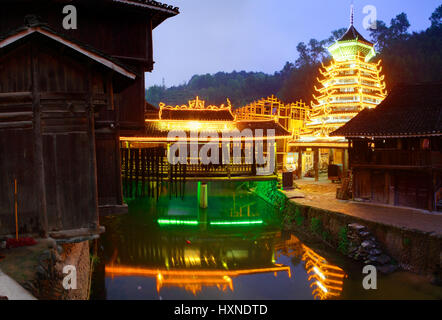 Zhaoxing Dong Village (Zhao Xing Dong Zhai) in Southeast Guizhou Miao and Dong Nationalities Autonomous Prefecture - Stock Photo