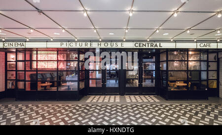Colour photograph of London's Picturehouse Central Cinema, Car and Bar in London's West End. - Stock Photo