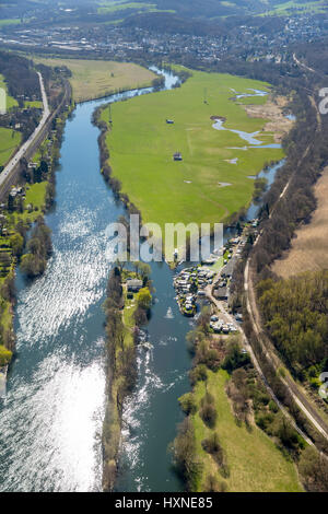 Ruhr valley with camping site, Hans-Petersteger, Ruhr valley bike trail, Ruhrauen, Ruhr, Witten, Ruhr area, North - Stock Photo