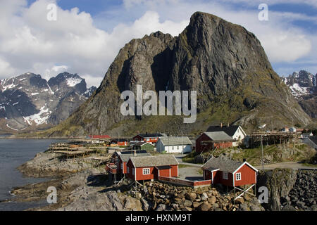 Fishing place Hamnoy , Fischerort Hamnoy - Stock Photo