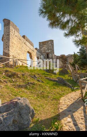 Castillo Árabe, castle above the village Casares, White Towns of Andalusia, Sierra Bermeja, Málaga province, Spain - Stock Photo