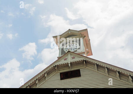 Sapporo clock tower and blue sky in hokkaido japan - Stock Photo