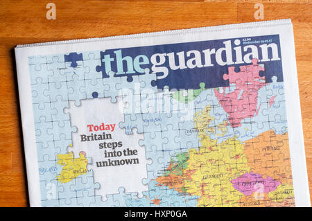 The front page of The Guardian newspaper on the day that the UK triggers Article 50 to begin the process of leaving - Stock Photo