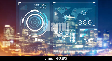 Financial consulting and analytics concept with infographs on sc - Stock Photo