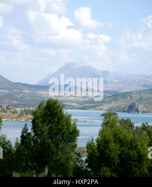Reservoir lake and mountains near Antequera, Malaga Province, Andalusia, Spain. Embalse El Chorro. Landscape. - Stock Photo