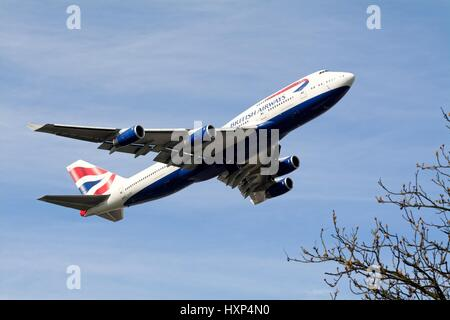 British Airways jumbo jet taking off from Heathrow London UK - Stock Photo