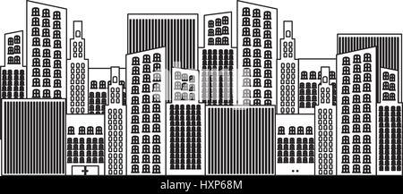 black silhouette of city buildings - Stock Photo