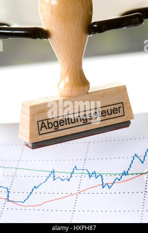 Stamp with label Tax office hangs about a security course course (Chart), Stempel mit Aufschrift Finanzamt hängt - Stock Photo