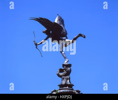 Statue of Anteros on Shaftesbury Memorial Fountain, Piccadilly Circus, West End, City of Westminster, Greater London, - Stock Photo