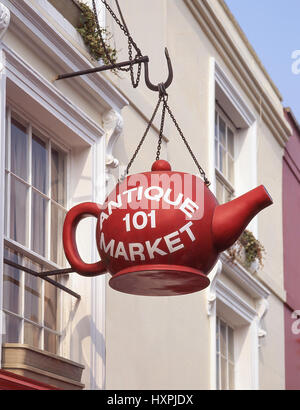 Sign at Portobello Road Antiques Market, Notting Hill, Royal Borough of Kensington and Chelsea, Greater London, - Stock Photo