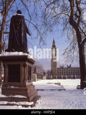 Parliament Square and Big Ben in snow, City of Westminster, Greater London, England, United Kingdom - Stock Photo