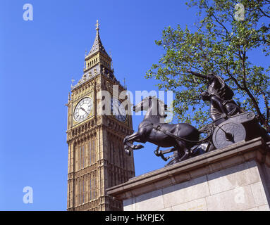 Big Ben clock tower and Boudicca Statue from Westminster Bridge, City of Westminster, Greater London, England, United - Stock Photo