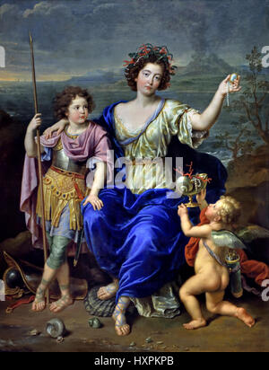 The Marquise de Seignelay and Two of her Sons Pierre Mignard 1612 - 1695 France French  ( Catherine-Thérèse de Matignon - Stock Photo