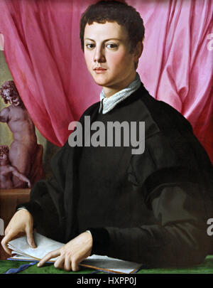 Portrait of a young man 1550 Agnolo di Cosimo 1503 –1572 known as Bronzino Italian, Italy, (  Bronzino himself composed - Stock Photo