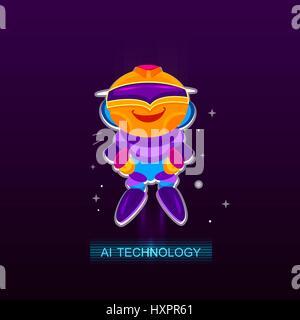 Artificial Intelligence AI , Robot joy. - Stock Photo