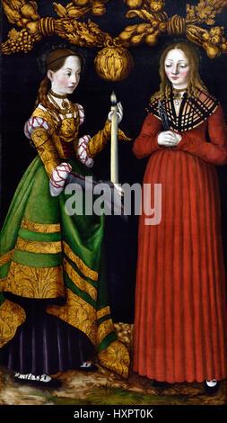Saints Genevieve and Apollonia 1506  Lucas Cranach the Elder 1472 - 1553 German Germany - Stock Photo