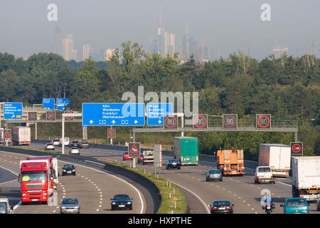 Highway A3 on height Rodgau, in the background the skyline of Frankfurt am Main, Autobahn A3 auf Höhe Rodgau, im - Stock Photo