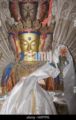 A photo of the Buddha at Namgyal Tsemo monastery on the edge of Leh in Kashmir. - Stock Photo