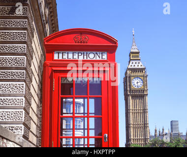 Red telephone kiosk and Big Ben, Parliament Square, City of Westminster, Greater London, England, United Kingdom - Stock Photo