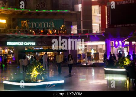 Noida, India - 19th Mar 2017: People roaming around garden galleria mall in Delhi. - Stock Photo