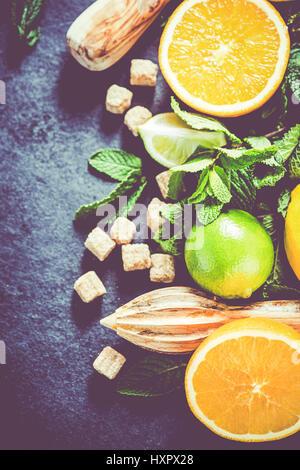 Making homemade tasty summer refreshing lemonade - Stock Photo