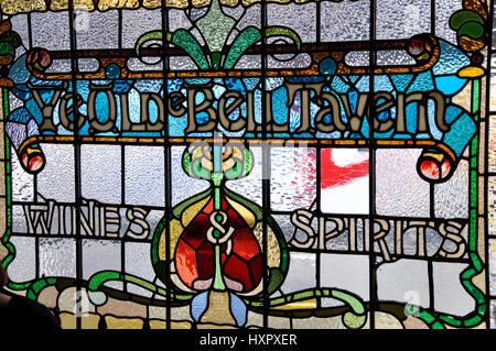 Stained glass window, Ye Olde Bell Tavern, Fleet Street, City of London, London, England, United Kingdom - Stock Photo