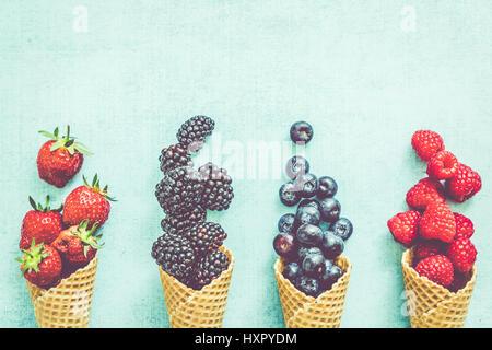 waffle with fresh berries, homemade ice cream making - Stock Photo
