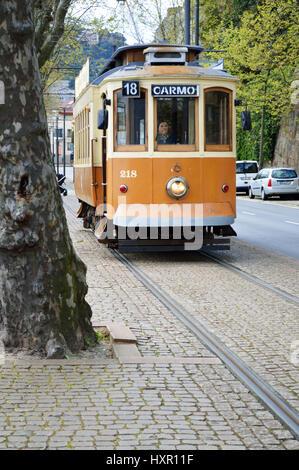 Old tram in Porto, Portugal - Stock Photo