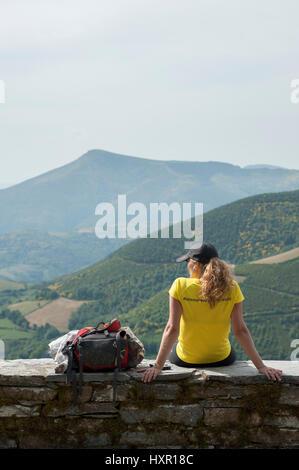 The French Way of the Way of St. James, O Cebreiro, Lugo, Galicia, Spain, Europe - Stock Photo